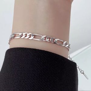Sterling Silver 925 Plated Figaro Chain Bracelet